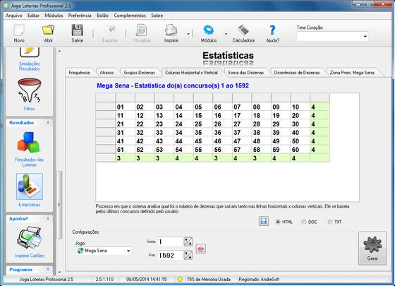 Tela do Módulo Estatística de Coluna Horizontal x Vertical