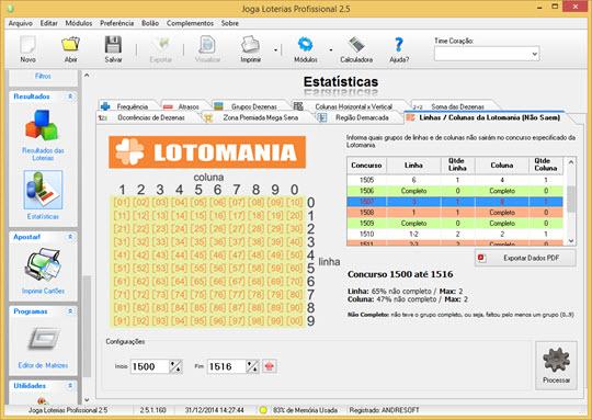 Estatísticas de Linhas/Colunas da Lotomania (Não Saem)
